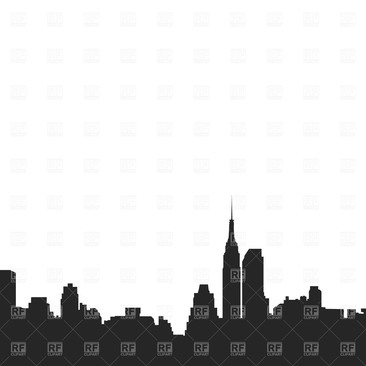 Silhouette of cityscape of New York.
