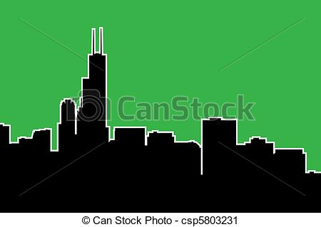 Clipart of Chicago Skyline Silhouette.