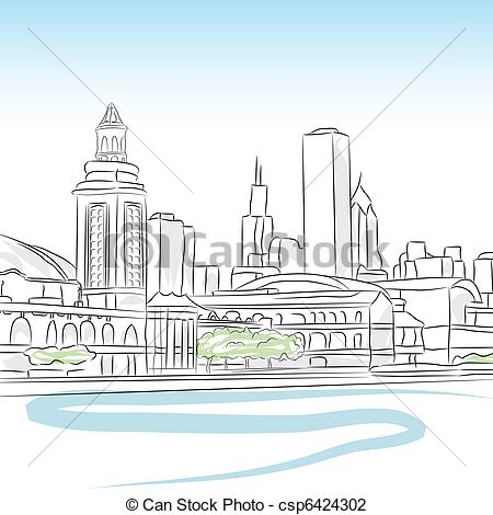 Vector Illustration of Downtown Skyline of Chicago.