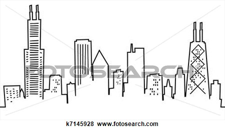 Chicago skyline clipart art drawing.