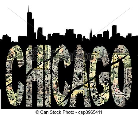 Clipart of Chicago grunge dollar with skyline.