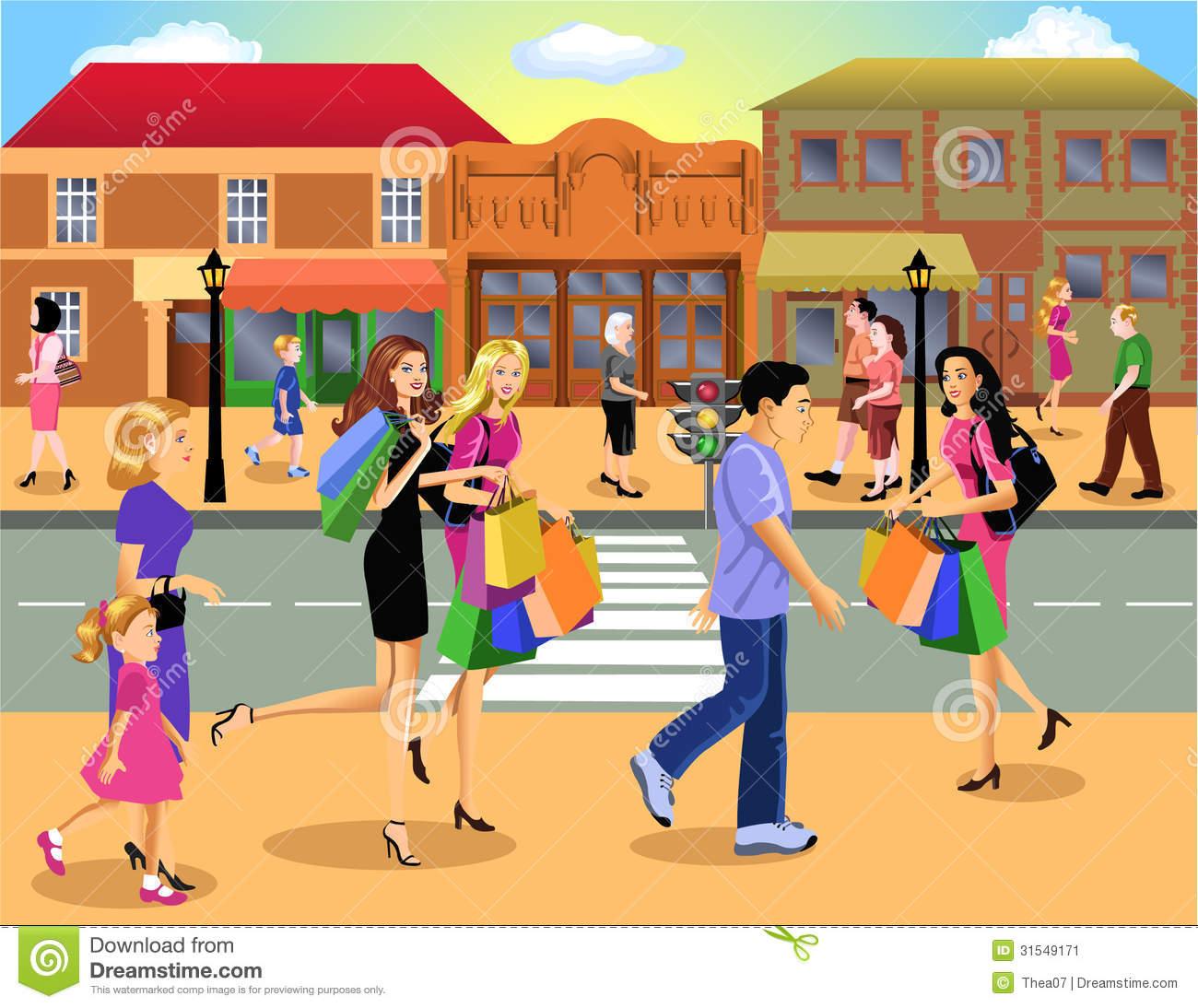 Shopping Woman Walking City Downtown Stock Illustrations.