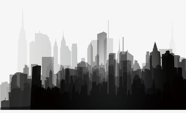Black And White City Silhouette PNG, Clipart, Black, Black Clipart.