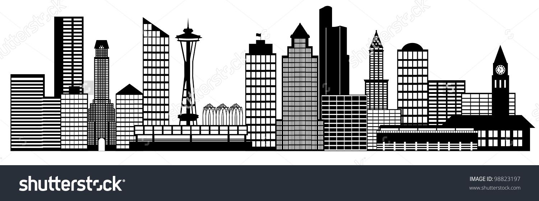 Seattle City Washington Skyline Panorama Black Stock Illustration.