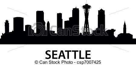 Seattle skyline Clip Art Vector Graphics. 134 Seattle skyline EPS.