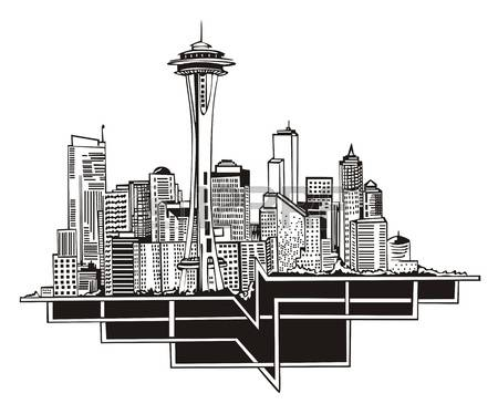 175 Seattle Downtown Stock Vector Illustration And Royalty Free.
