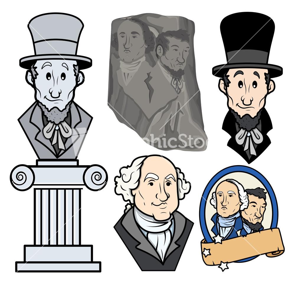 Usa Presidents George Washington & Abraham Lincoln Clip Art.