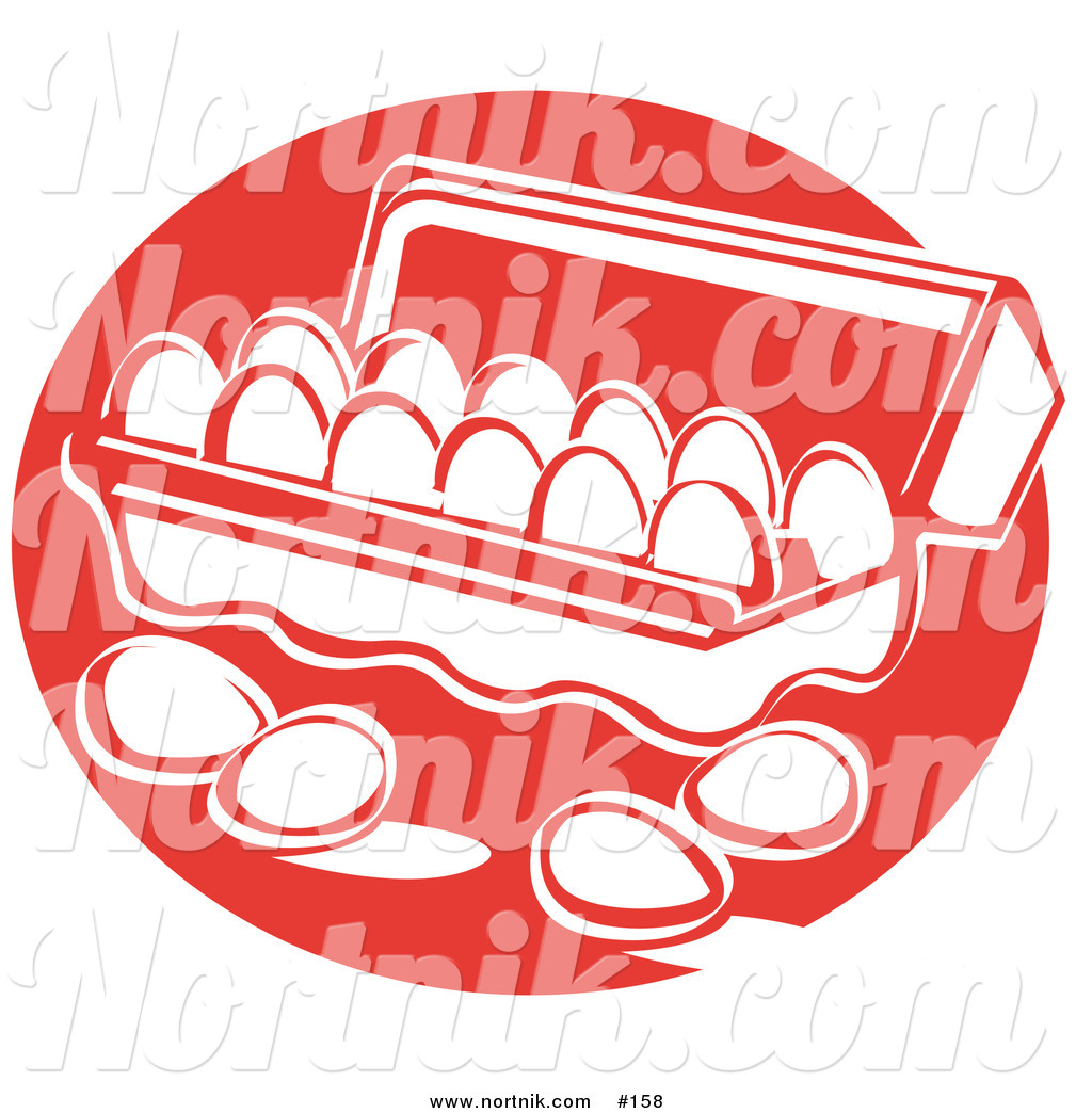 Clipart of Eggs in Carton of Dozen by Andy Nortnik.