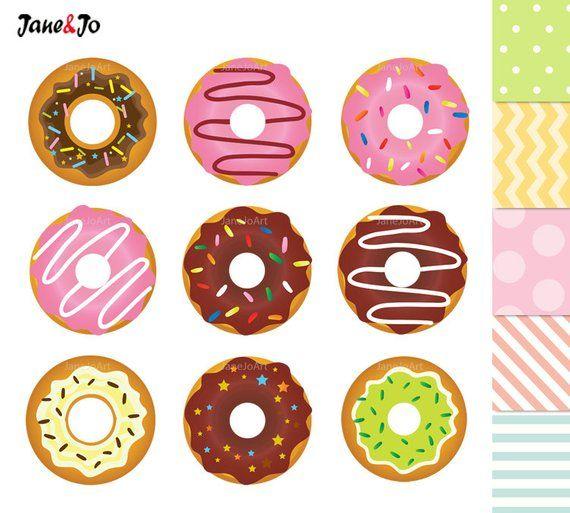Donuts Clipart , Donuts Digital Clip Art , Sweet Doughnut.