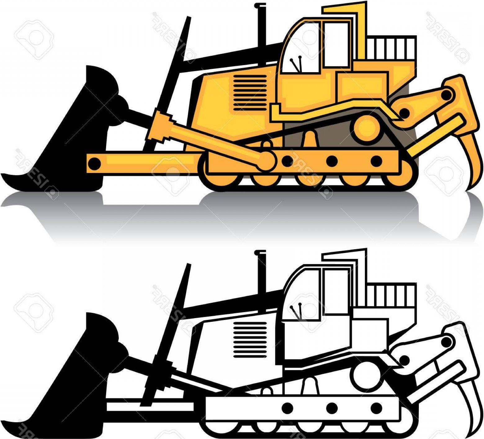 Photostock Vector Dozer Vehicle Vector Illustration Clip Art Image.