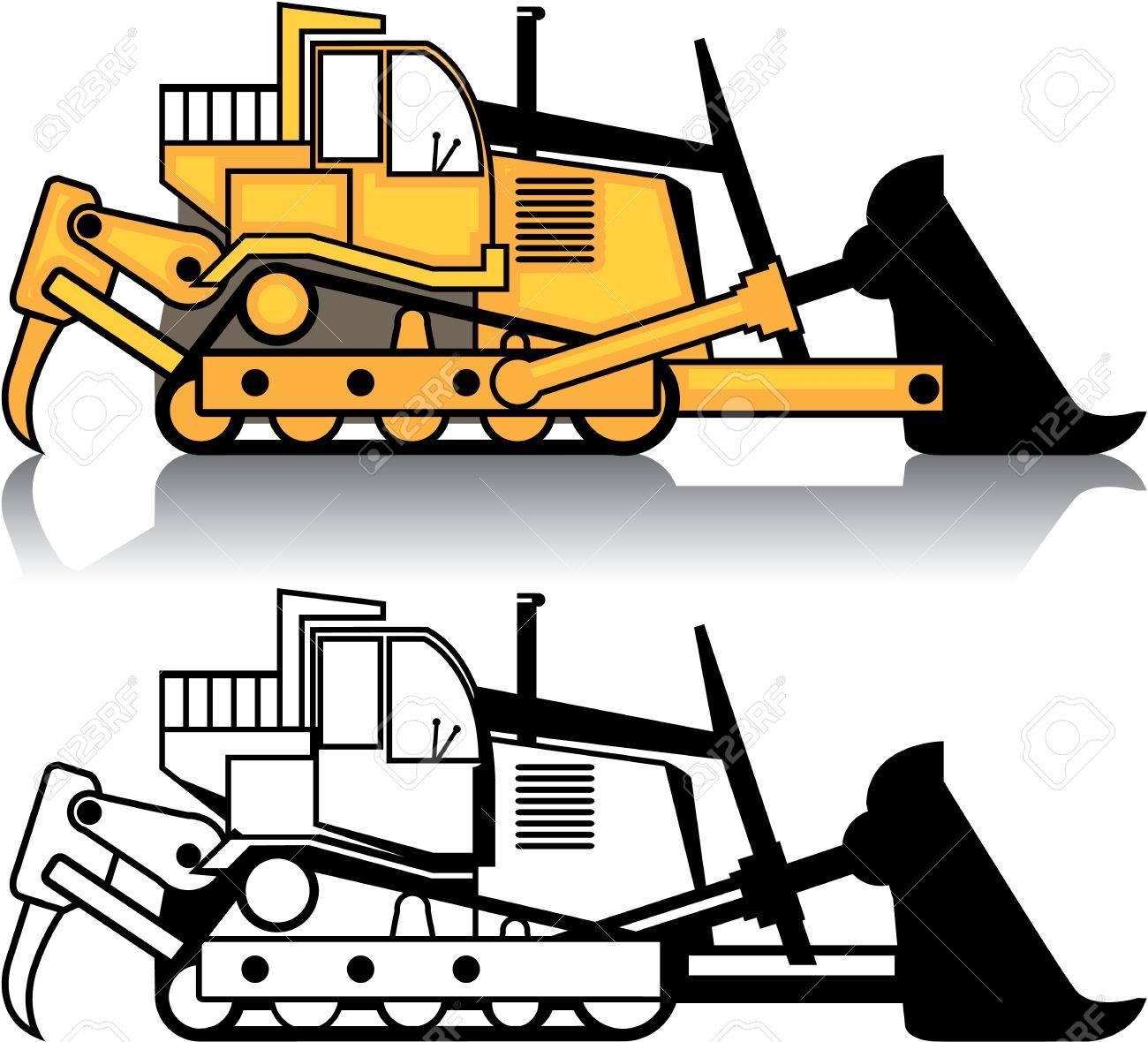 Dozer vehicle vector illustration clip.
