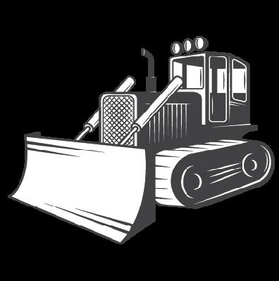 Bulldozer clipart black and white, Bulldozer black and white.