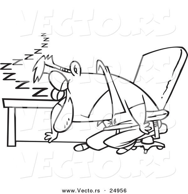 Vector of a Cartoon Exhausted Man Dozing at His Desk.