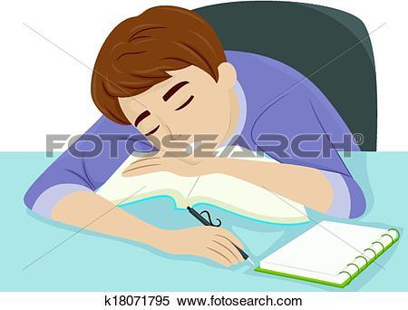 Clipart of Guy Dozing Off to Sleep k18071795.