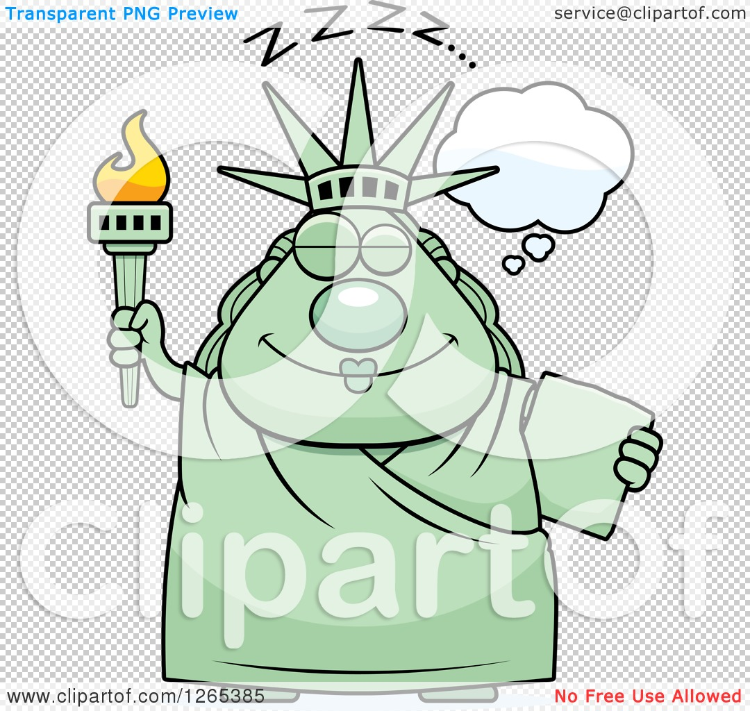 Clipart of a Chubby Dozing Statue of Liberty.