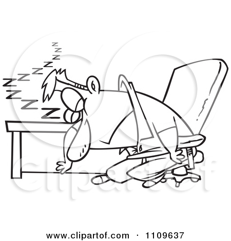 Clipart Outlined Exhausted Man Dozing At His Desk.