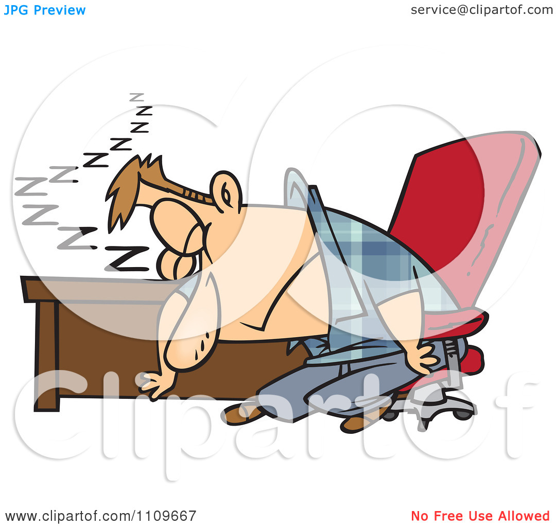 Clipart Exhausted Man Dozing At His Desk.