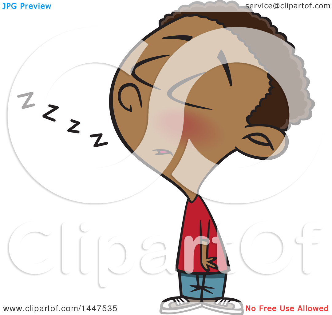 Clipart of a Cartoon African American Boy Dozing While Standing up.