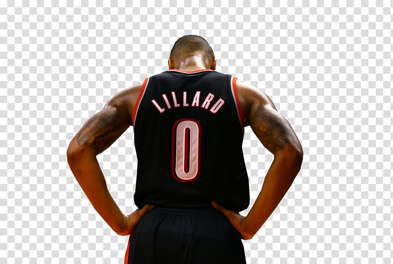 Damian Lillard back jersey transparent background PNG.