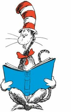 Cat in the hat reading.