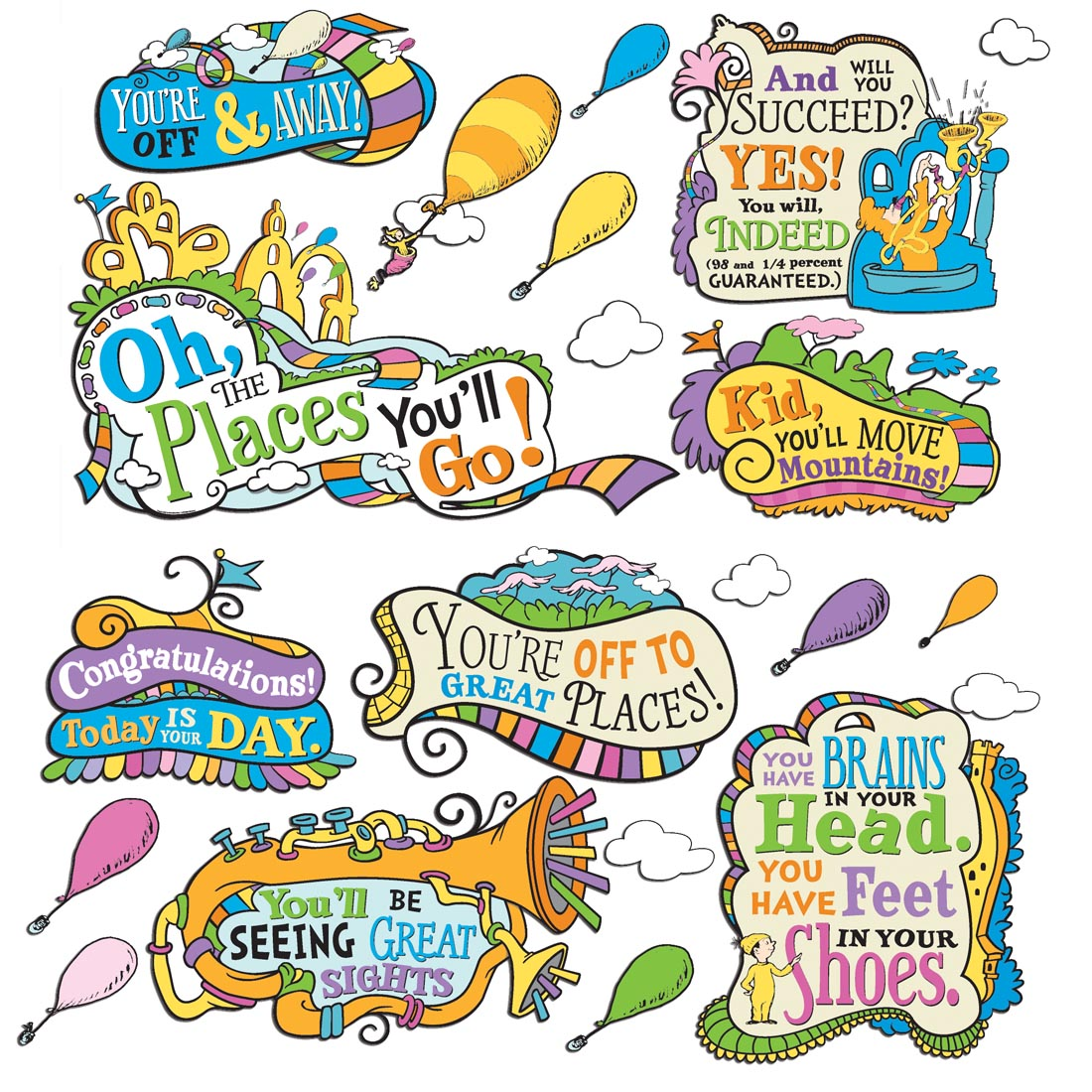 Dr. Seuss Oh The Places You'll Go Bulletin Board Set by Eureka.