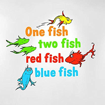 Amazon Com One Fish Two Red Blue Dr Seuss Kids Wall Cheap Clip Art.