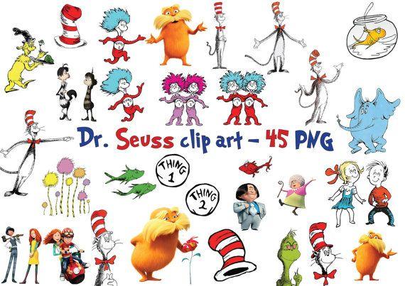 45 Dr seuss Clipart Graphic Instant Download.