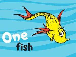 Beautiful One Fish Two Fish Red Fish Blue Fish artwork for sale.