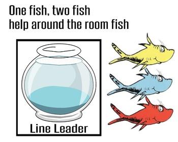 Dr.Seuss One Fish, Two Fish Job Chart.