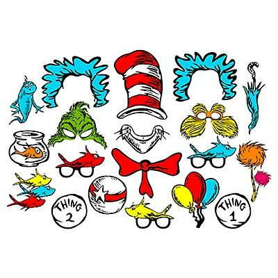 DIGITAL DR SEUSS inspired photo booth props NO PHYSICAL ITEM.