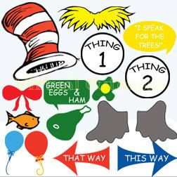 Dr seuss photo booth props clipart 2 » Clipart Station.
