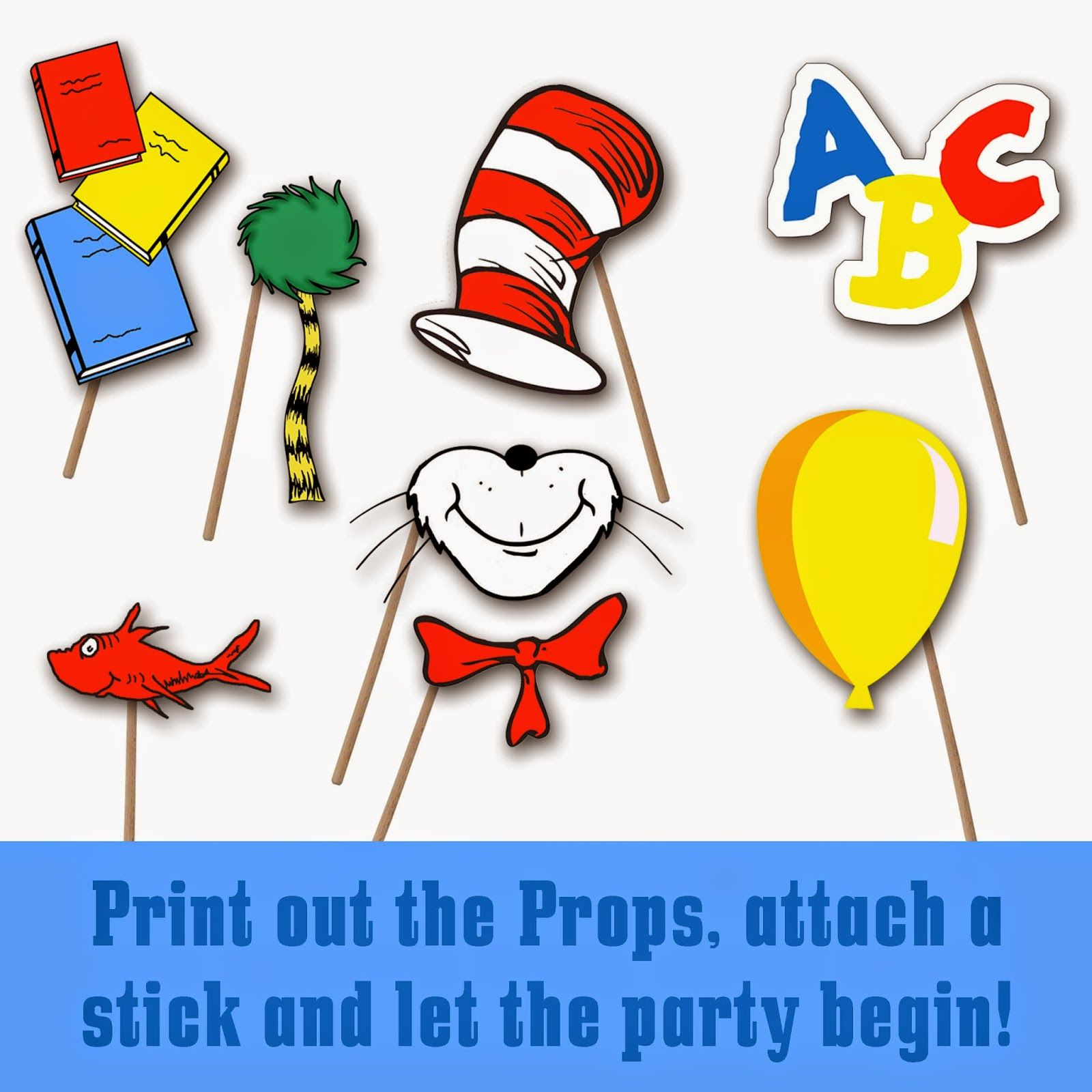 Dr. Seuss Photo Booth Printable Props.