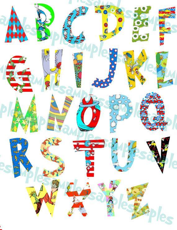 Dr. Seuss Alphabet Clipart Printable, Font, Alphabet Letters.