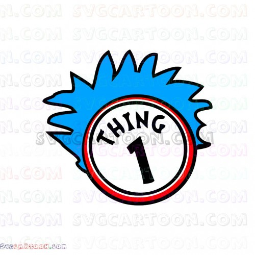 Dr Seuss Thing 1 with Circle svg dxf eps pdf png.