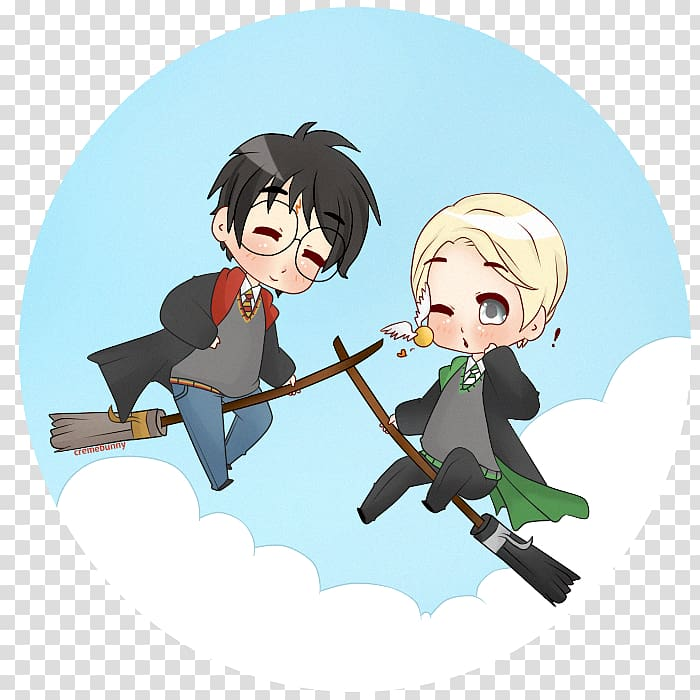 Draco Malfoy Chibi Harry Potter Fan art Anime, hug.