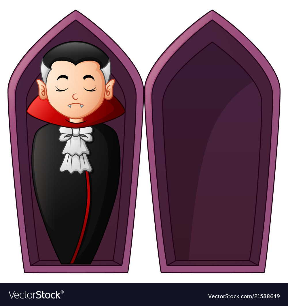 Cartoon vampire in open coffins.