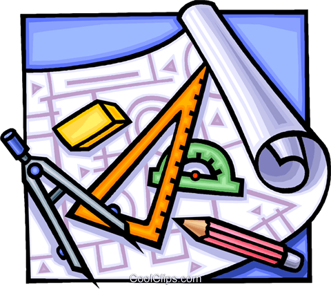 drafting tools Royalty Free Vector Clip Art illustration.