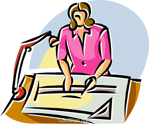 architect working on a drafting table Royalty Free Vector Clip Art.