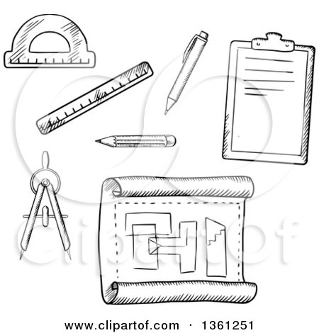 Clipart of Black and White Sketched Drafting Tools.
