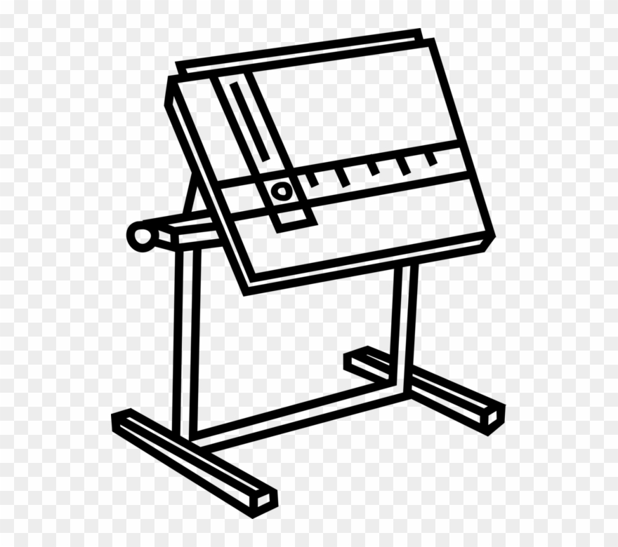 Vector Illustration Of Drafting Table Used By Draftsman.