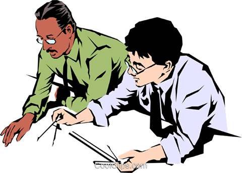 Men with drafting tools Royalty Free Vector Clip Art.