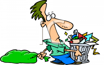 Cartoon of a Man Dragging Out the Garbage on Trash Day.