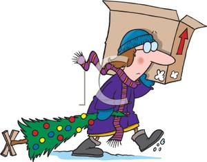Woma Carrying a Box and Dragging a Decorated Christmas Tree.