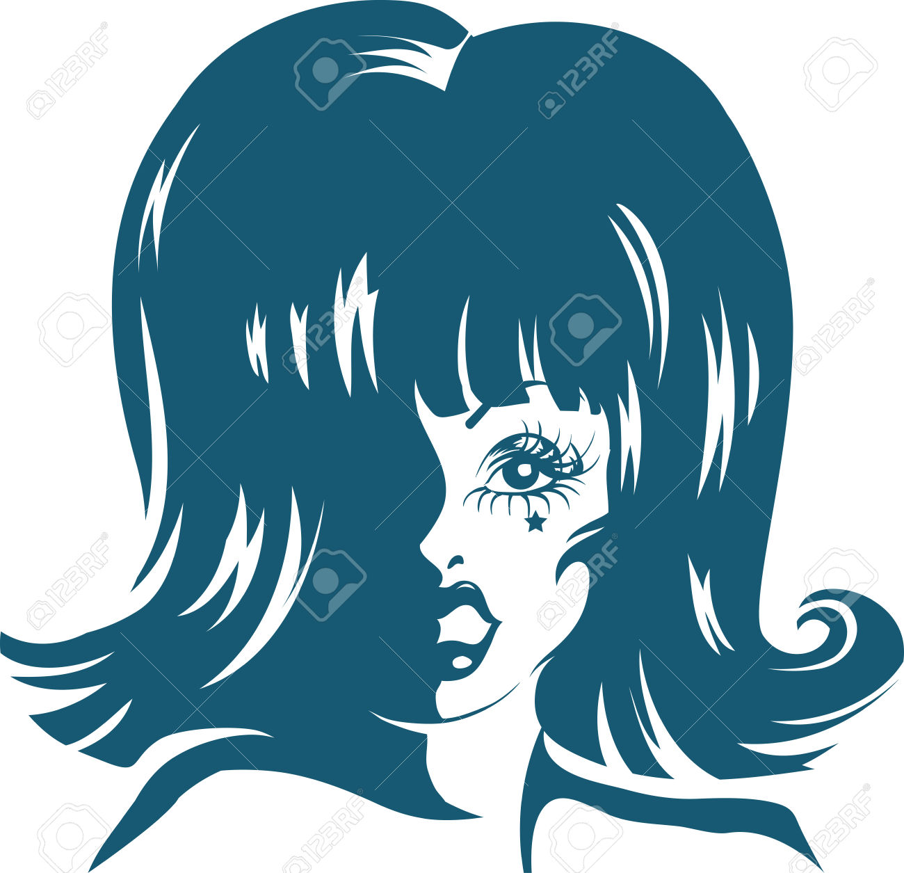 Stencil Illustration Of A Drag Queen Done In Blue Ink Stock Photo.