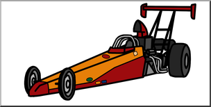 Clip Art: Racing Car: Drag Racer Color I abcteach.com.