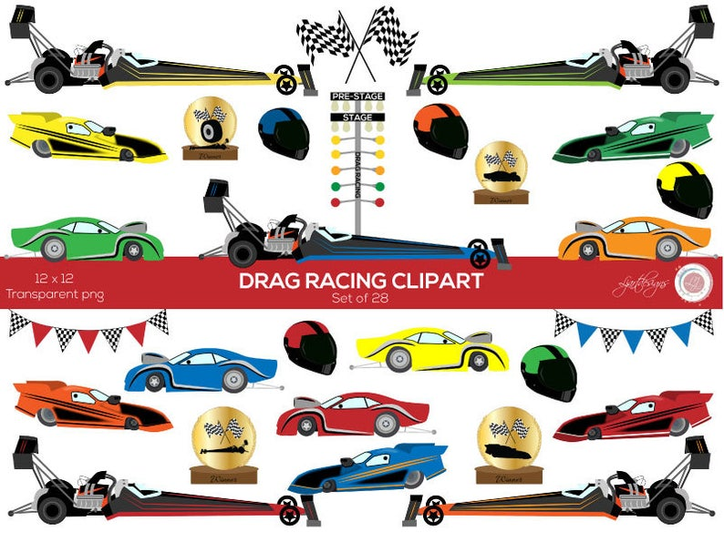 Car Clipart, Drag Racing Clip Art, Race Cars, Kid's Clipart, Scrapbooking,  Crafts, Checkered Bunting, Dragster, Card Making, printable.