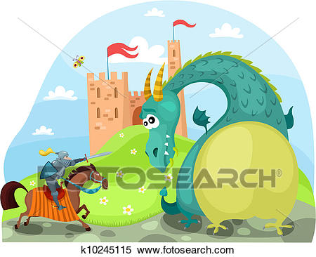 Dragon and knight Clipart.