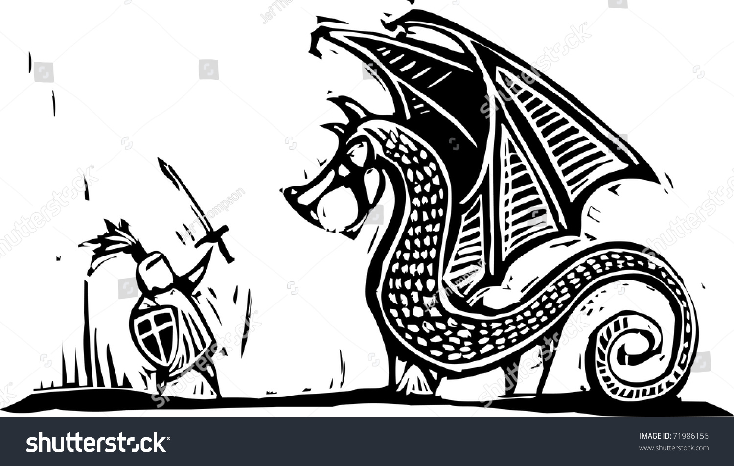 Knight Fighting Dragon Clipart & Clip Art Images #1991.
