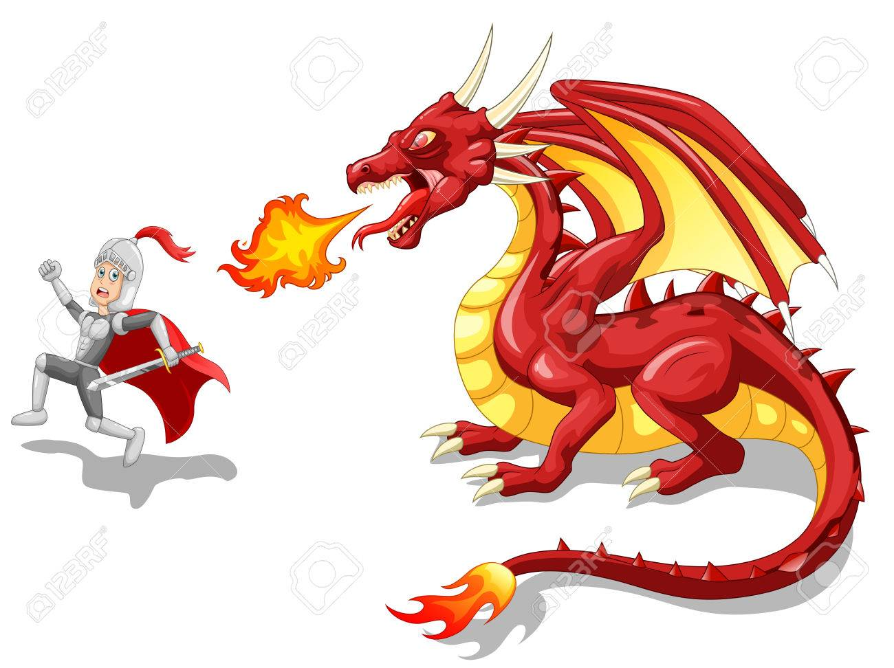 Cartoon knight with fierce dragon. Vector illustration.