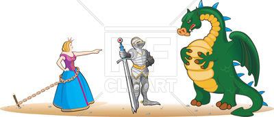 Princess, knight and dragon.